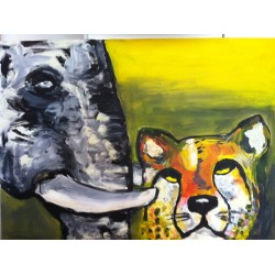 Triptych the Rhino and Buffolo (Right)  (80cm x 60cm)