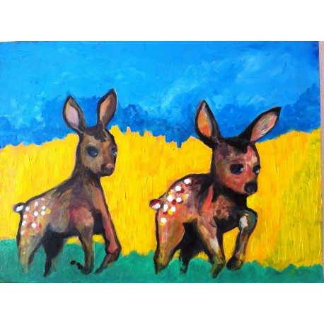 Fawns on the run (80cm x60cm)