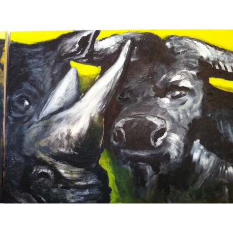 Triptych the Rhino and Buffolo (left) (80x60).JPG